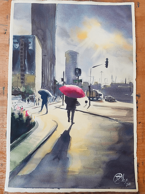 ORIGINAL WATERCOLOR - On The Way To Work