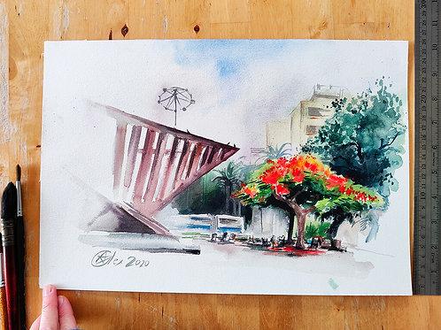 פריחת הצאלון בכיכר רבין תל אביב Rabin Square original watercolor