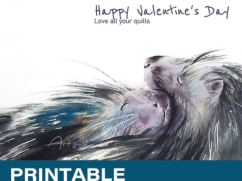 Porcupines Valentine's day greeting card