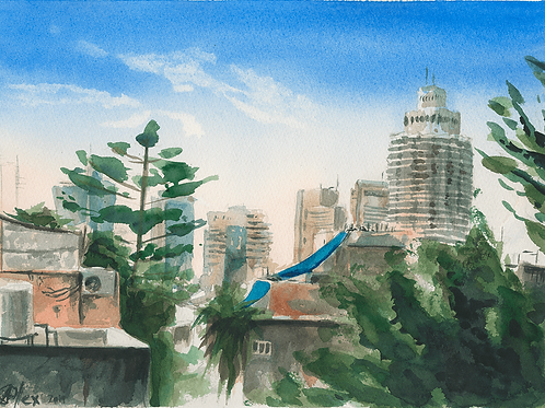 ORIGINAL WATERCOLOR - Tel Aviv Rooftops