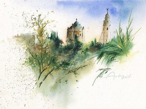ציור מקור בצבעי מים כנסיית דורמיציון ירושלים Dormition abbey Jerusalem original