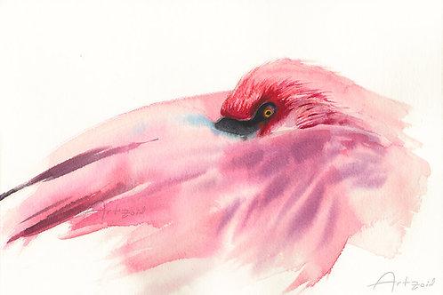 ציור מקור פלמינגו Flamingo original watercolor