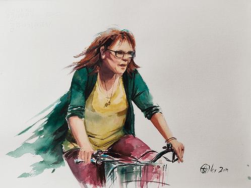 אשה על אופניים Woman on a bicycle