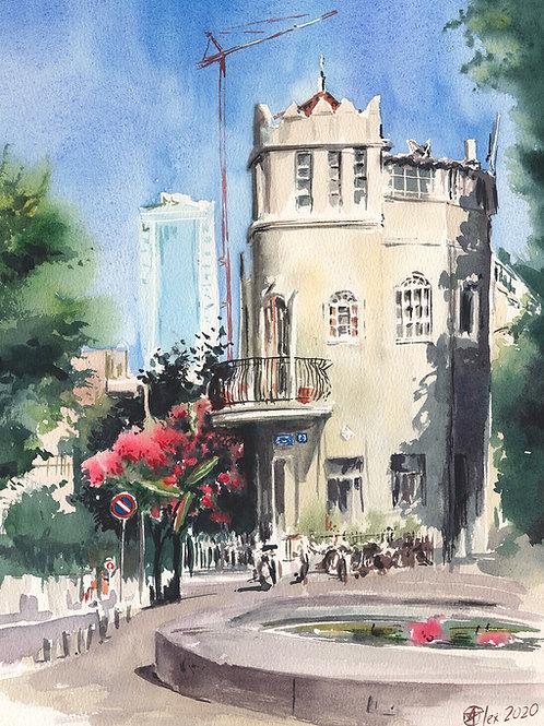 כיכר ביאליק Bialik Square original watercolor