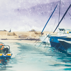Jaffa port plein air painting