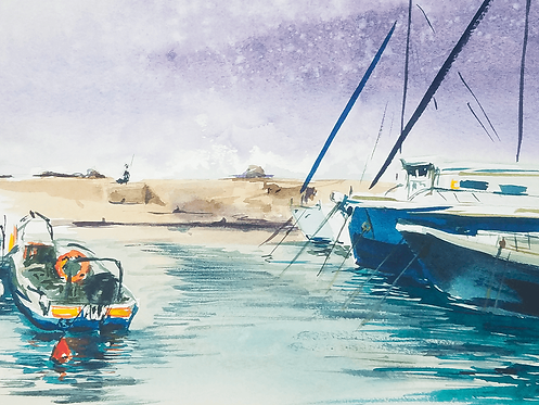 ORIGINAL WATERCOLOR - Jaffa Port