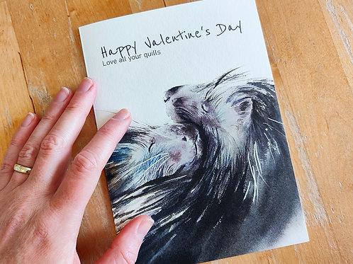 כרטיס ברכה דורבנים Porcupines Valentine's greeting card