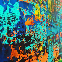 These colors are ᴱᴸᴱᶜᵀᴿᴵᶜ⚡️_•_•_•_•_•_•_•_#teal #blue #orange #yellow #green #black #acrylicpainting
