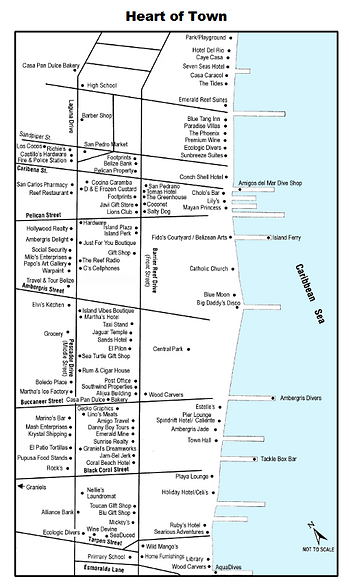 """Map of San Pedro - the """"Heart of Town"""""""