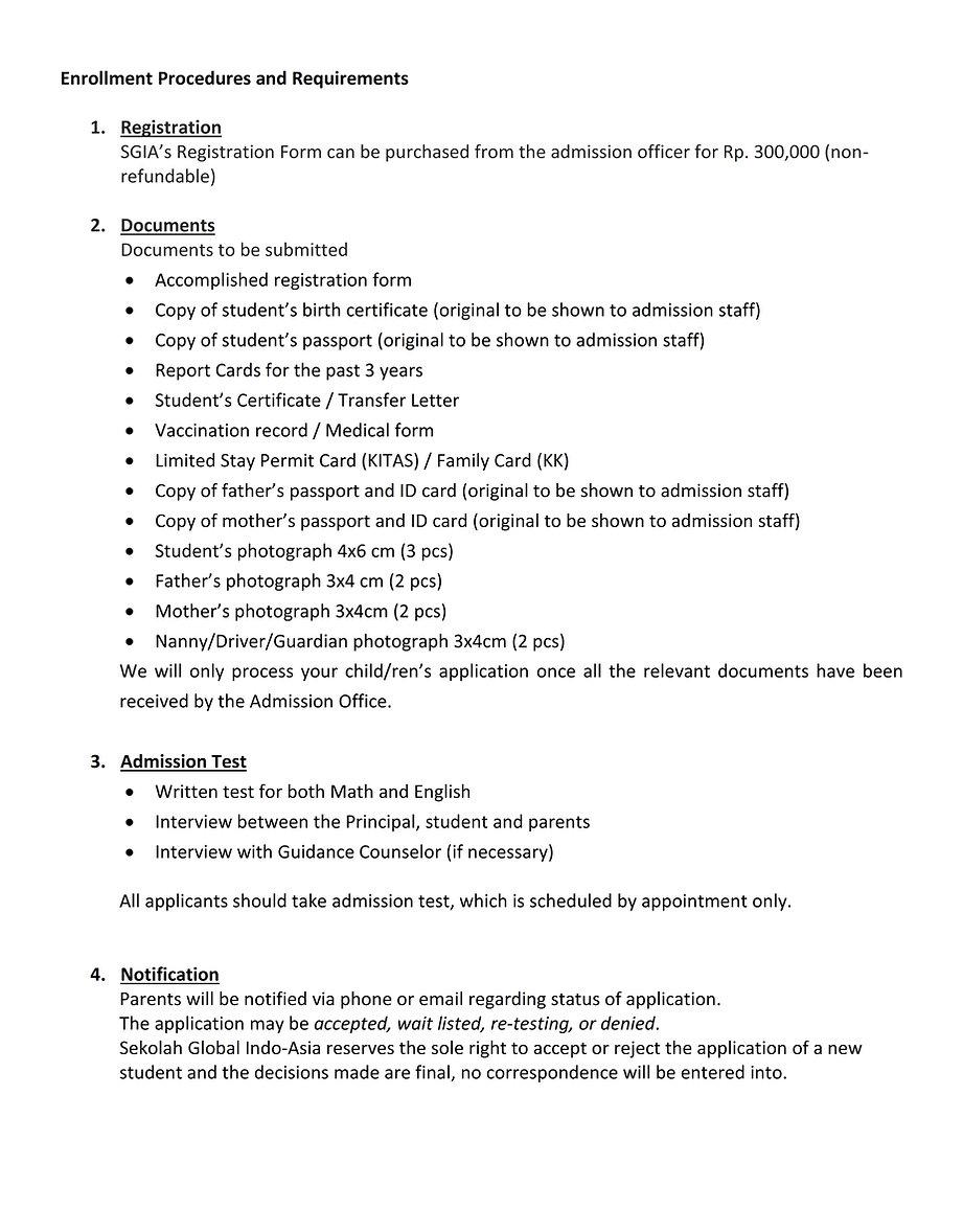 Enrollment Procedures and Requirements -