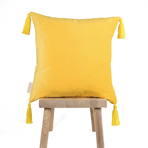 PLAIN YELLOW TASSEL CUSHION