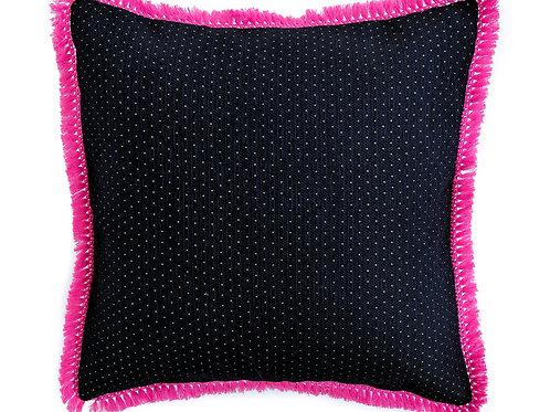 Navy Gold Tassel Cushion