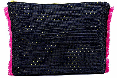 Large Navy Tassel Pouch