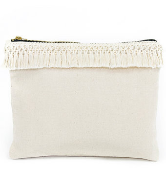 Large Natural Tassel Pouch