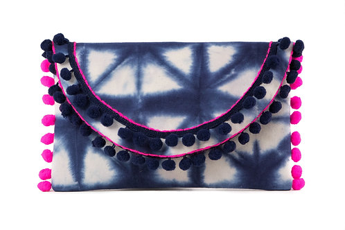 IBIZA LOVES POMPOM CLUTCH