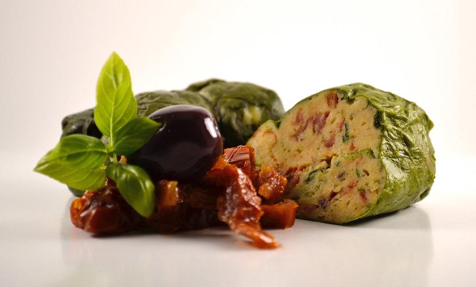 Capuns mit getrockneten Tomaten und Oliven