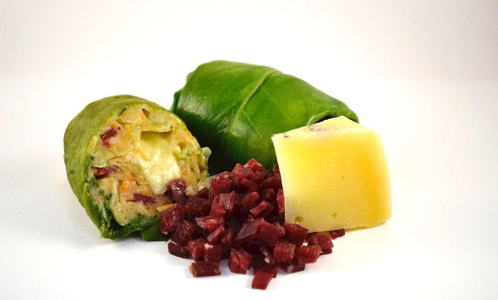 Capuns mit Bündnerfleisch und Alp d'Err Käse