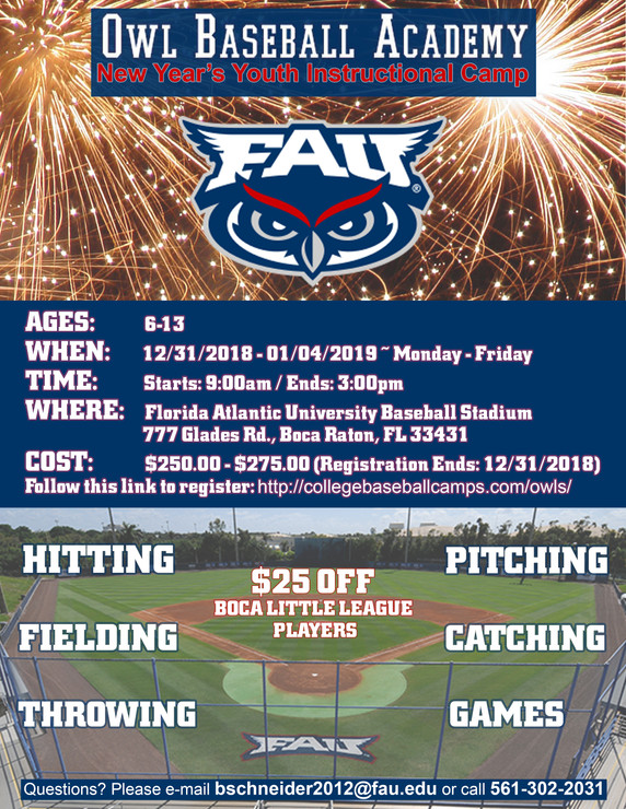 FAU New Years Youth Camp Flyer