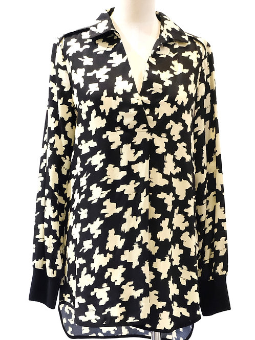 Beatrice B relaxed black and cream printed  blouse