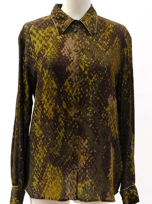 Otto Dame reptile print georgette shirt.