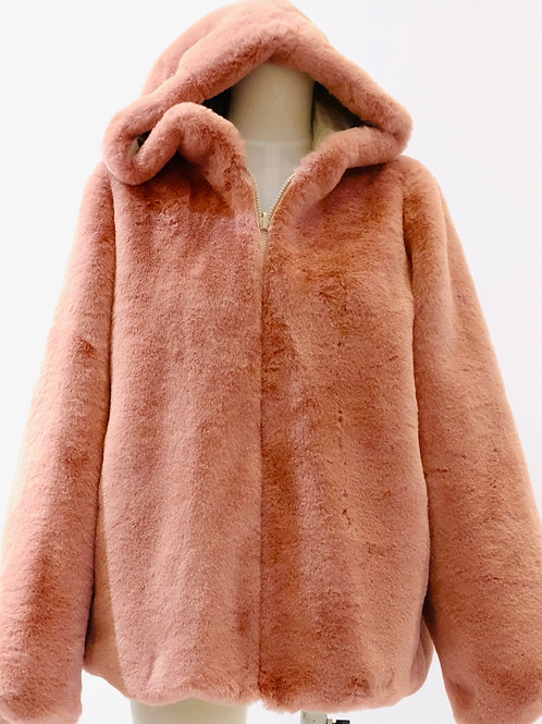 Twinset pink faux fur hooded bomber jacket