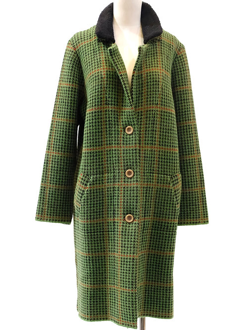 Aldo Martins green check knit coat.