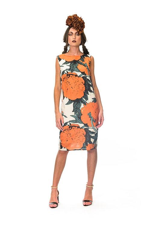 Megan Salmon Mandarin shift dress