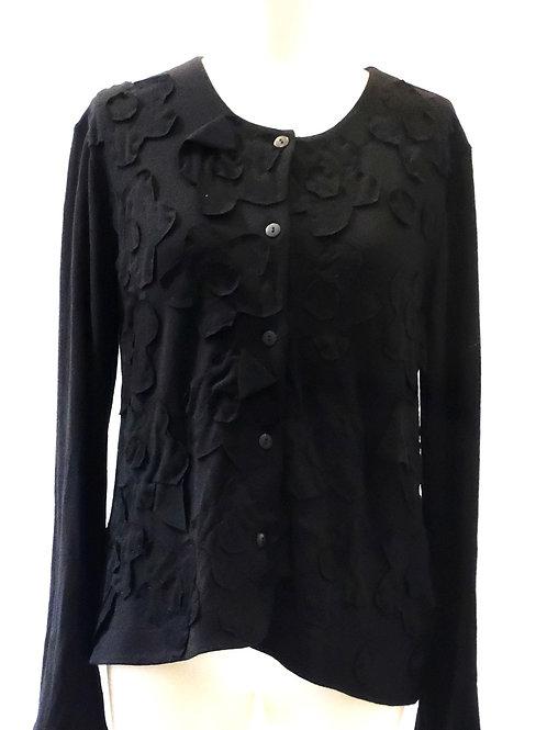 Megan Salmon black wool jersey cardigan.