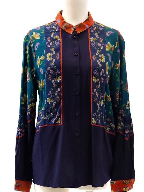 Yerse (spain) navy and spliced floral shirt.