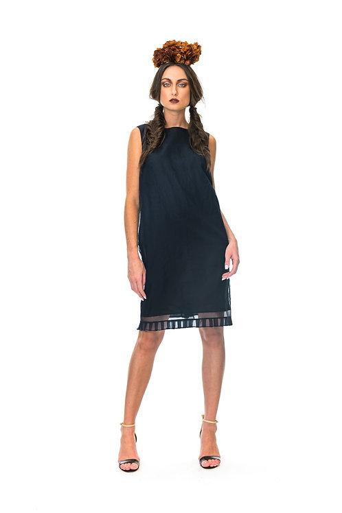 Megan Salmon Organza Pleat  shift dress