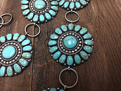 Upcycled Turquoise Sterling Silver Belt Close Up View