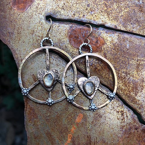 Sky Blue Topaz Gold Peace Sign Earrings