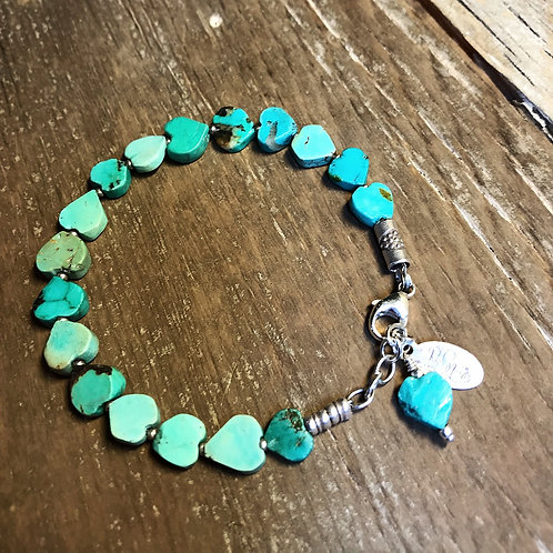 Hand Carved Turquoise Heart Bracelet With Sterling Silver