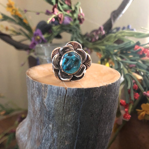 Mixed Metal Turquoise Flower Ring