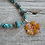 Amber Flower Turquoise Necklace Close Up Of Pendant
