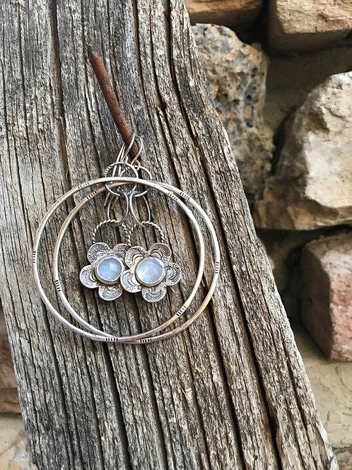 Sterling Silver Rainbow  Moonstone  Flower Hoops