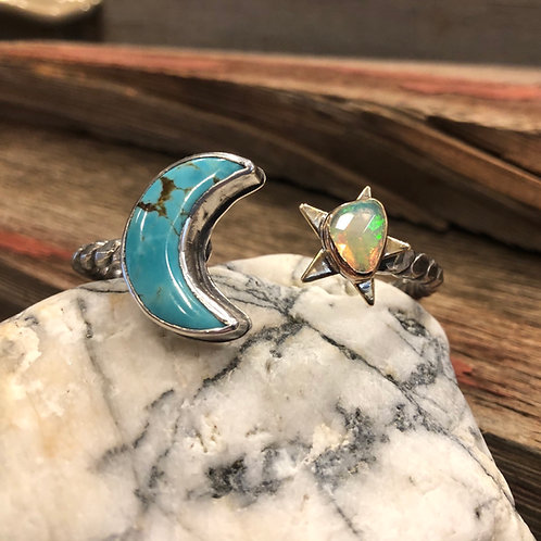 Turquoise and Opal Cuff