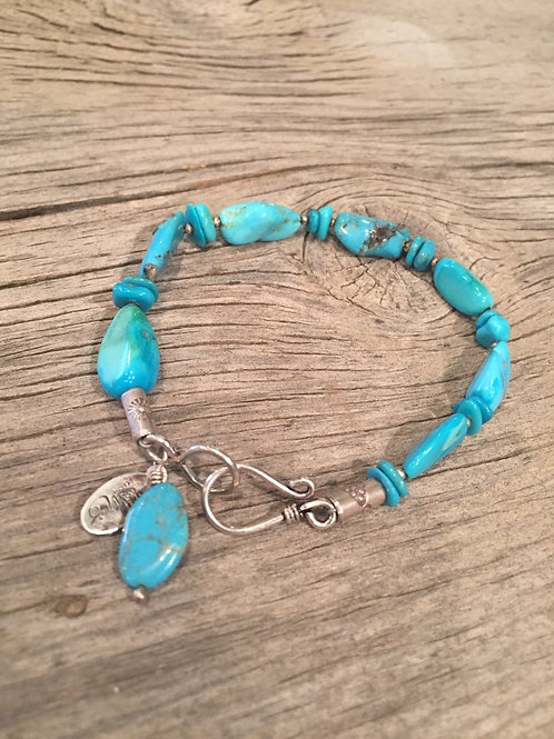 Sleeping Beauty Turquoise Bracelet With Thai Silver Beads Close Up View