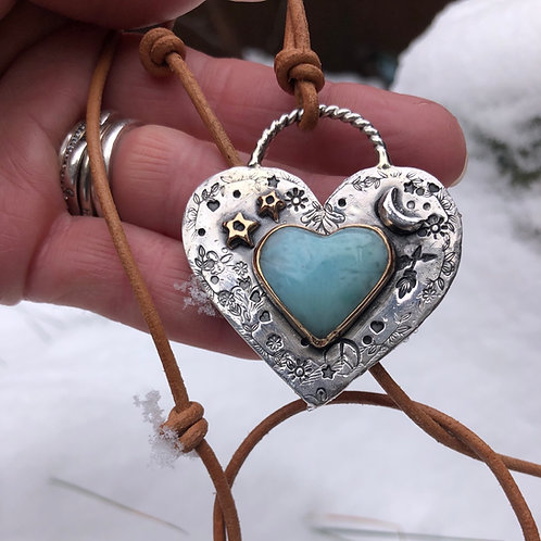 Sterling Silver and Larimar Heart Necklace