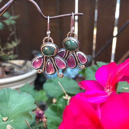 Pink Tourmaline and Green Sapphire Flower Earrings