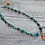 Amber Flower Turquoise Necklace Full View