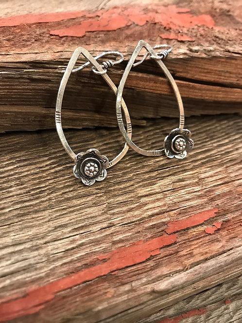 Teardrop Sterling Silver Flower Earrings