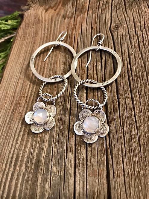 Rainbow Moonstone and Sterling Silver Hoop Flower Earrings