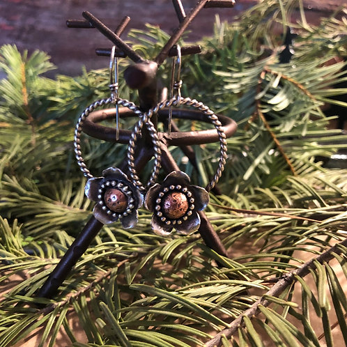 Silver and Copper Flower Hoop Earrings