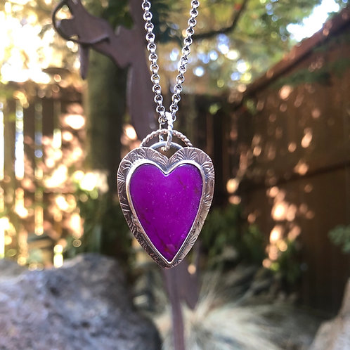 Purple Mojave Turquoise Heart Necklace