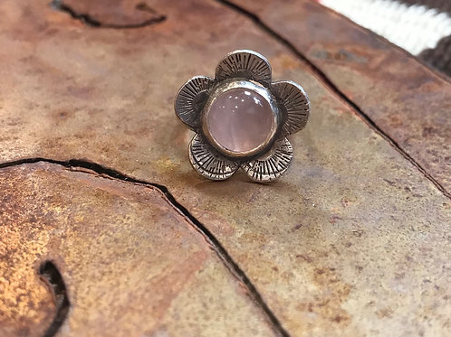 Rose Quartz Silver Flower Ring