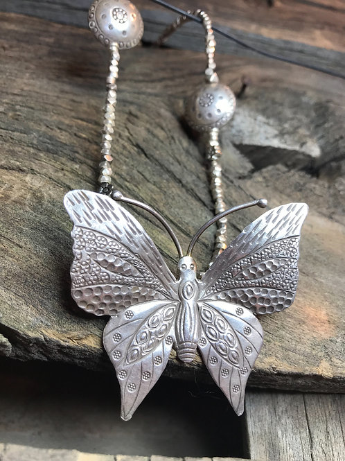 Sterling Silver Hill Tribe Butterfly Necklace