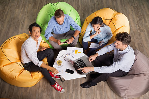 people-working-beanbag-chairs-trendy-off