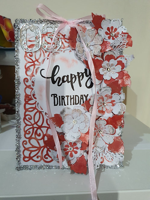 Handmade happy birthday box card for her, floral card