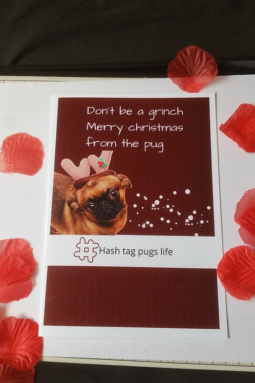 Pugs Christmas card, doggy cards